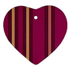 Stripes Background Wallpaper In Purple Maroon And Gold Heart Ornament (two Sides) by Simbadda