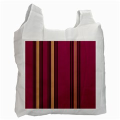 Stripes Background Wallpaper In Purple Maroon And Gold Recycle Bag (two Side)  by Simbadda