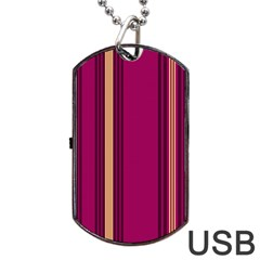 Stripes Background Wallpaper In Purple Maroon And Gold Dog Tag Usb Flash (two Sides) by Simbadda
