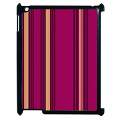 Stripes Background Wallpaper In Purple Maroon And Gold Apple Ipad 2 Case (black) by Simbadda