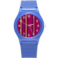 Stripes Background Wallpaper In Purple Maroon And Gold Round Plastic Sport Watch (s) by Simbadda