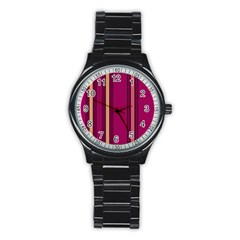 Stripes Background Wallpaper In Purple Maroon And Gold Stainless Steel Round Watch