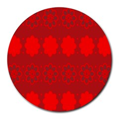 Red Flowers Velvet Flower Pattern Round Mousepads by Simbadda