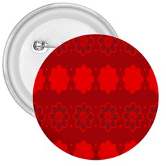 Red Flowers Velvet Flower Pattern 3  Buttons by Simbadda