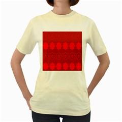 Red Flowers Velvet Flower Pattern Women s Yellow T-Shirt