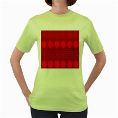 Red Flowers Velvet Flower Pattern Women s Green T-Shirt