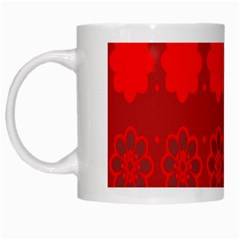 Red Flowers Velvet Flower Pattern White Mugs by Simbadda