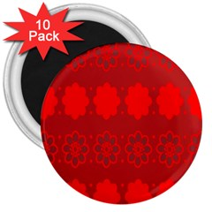 Red Flowers Velvet Flower Pattern 3  Magnets (10 Pack)  by Simbadda