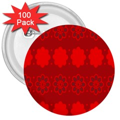 Red Flowers Velvet Flower Pattern 3  Buttons (100 Pack)  by Simbadda