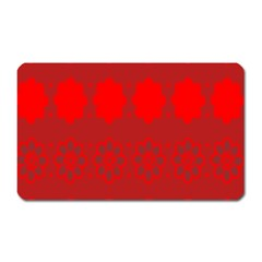 Red Flowers Velvet Flower Pattern Magnet (rectangular) by Simbadda