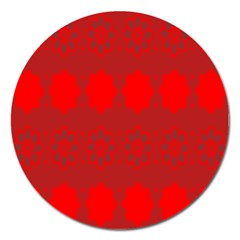 Red Flowers Velvet Flower Pattern Magnet 5  (round) by Simbadda