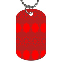 Red Flowers Velvet Flower Pattern Dog Tag (one Side) by Simbadda