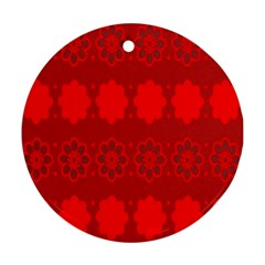 Red Flowers Velvet Flower Pattern Round Ornament (two Sides) by Simbadda
