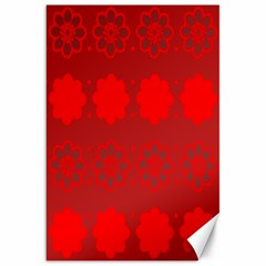 Red Flowers Velvet Flower Pattern Canvas 20  X 30   by Simbadda