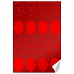 Red Flowers Velvet Flower Pattern Canvas 24  X 36  by Simbadda