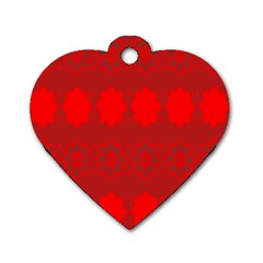 Red Flowers Velvet Flower Pattern Dog Tag Heart (one Side) by Simbadda