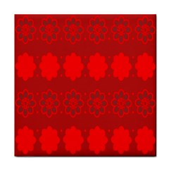 Red Flowers Velvet Flower Pattern Face Towel by Simbadda