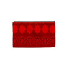 Red Flowers Velvet Flower Pattern Cosmetic Bag (small)  by Simbadda