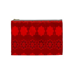Red Flowers Velvet Flower Pattern Cosmetic Bag (medium)  by Simbadda