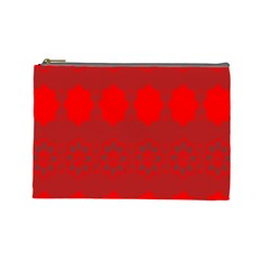 Red Flowers Velvet Flower Pattern Cosmetic Bag (large)  by Simbadda