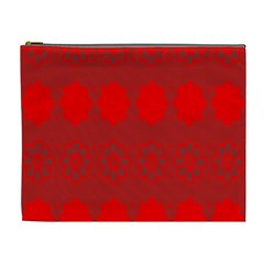 Red Flowers Velvet Flower Pattern Cosmetic Bag (xl) by Simbadda