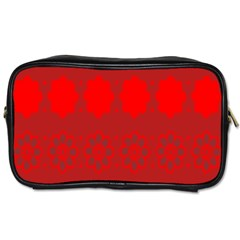 Red Flowers Velvet Flower Pattern Toiletries Bags by Simbadda