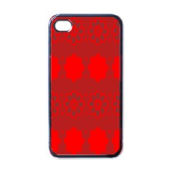 Red Flowers Velvet Flower Pattern Apple Iphone 4 Case (black) by Simbadda