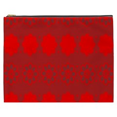Red Flowers Velvet Flower Pattern Cosmetic Bag (xxxl)  by Simbadda