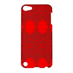 Red Flowers Velvet Flower Pattern Apple Ipod Touch 5 Hardshell Case by Simbadda