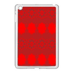Red Flowers Velvet Flower Pattern Apple Ipad Mini Case (white) by Simbadda
