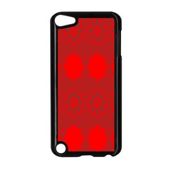 Red Flowers Velvet Flower Pattern Apple Ipod Touch 5 Case (black) by Simbadda