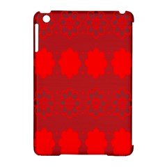 Red Flowers Velvet Flower Pattern Apple Ipad Mini Hardshell Case (compatible With Smart Cover) by Simbadda