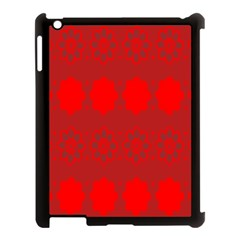 Red Flowers Velvet Flower Pattern Apple Ipad 3/4 Case (black) by Simbadda