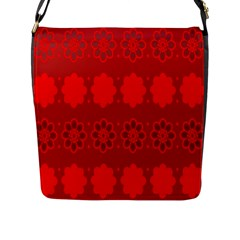 Red Flowers Velvet Flower Pattern Flap Messenger Bag (l)  by Simbadda