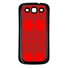 Red Flowers Velvet Flower Pattern Samsung Galaxy S3 Back Case (black) by Simbadda