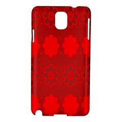 Red Flowers Velvet Flower Pattern Samsung Galaxy Note 3 N9005 Hardshell Case by Simbadda