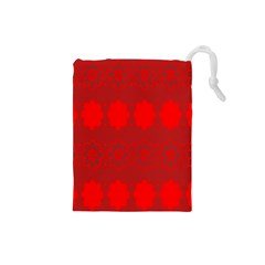Red Flowers Velvet Flower Pattern Drawstring Pouches (small)  by Simbadda