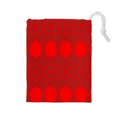 Red Flowers Velvet Flower Pattern Drawstring Pouches (large)  by Simbadda