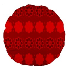 Red Flowers Velvet Flower Pattern Large 18  Premium Flano Round Cushions by Simbadda