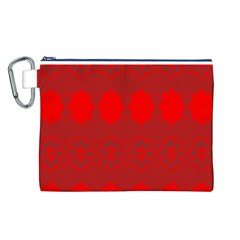 Red Flowers Velvet Flower Pattern Canvas Cosmetic Bag (l) by Simbadda