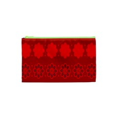 Red Flowers Velvet Flower Pattern Cosmetic Bag (xs) by Simbadda