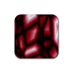 Red Abstract Background Rubber Square Coaster (4 Pack)  by Simbadda