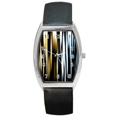 Digitally Created Striped Abstract Background Texture Barrel Style Metal Watch by Simbadda