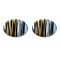 Digitally Created Striped Abstract Background Texture Cufflinks (oval) by Simbadda