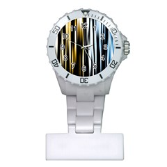 Digitally Created Striped Abstract Background Texture Plastic Nurses Watch by Simbadda