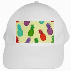 Colorful Pineapples Wallpaper Background White Cap by Simbadda