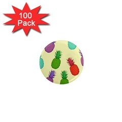 Colorful Pineapples Wallpaper Background 1  Mini Magnets (100 Pack)  by Simbadda