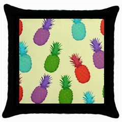 Colorful Pineapples Wallpaper Background Throw Pillow Case (black) by Simbadda