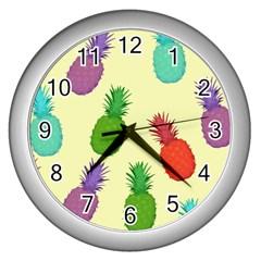 Colorful Pineapples Wallpaper Background Wall Clocks (silver)  by Simbadda