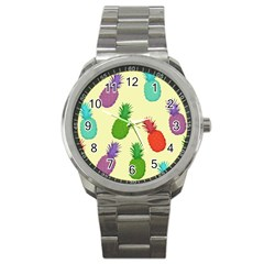 Colorful Pineapples Wallpaper Background Sport Metal Watch by Simbadda